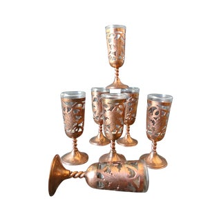 Etched Copper Cordial Glasses - Set of 7