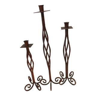 Mid-Century Twisted Iron Candlesticks - Set of 3