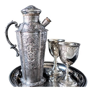 E. G. Webster Silver Plate Cocktail Shaker Repousse
