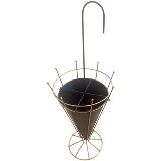 Mid-Century Metal & Brass Umbrella Stand