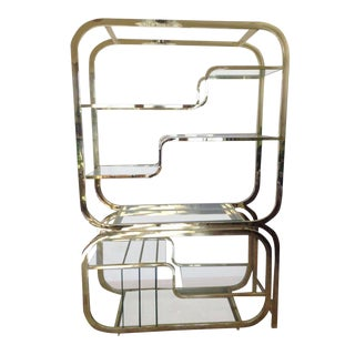 Milo Baughman Style Brass Etagere