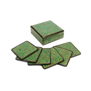 Hand Painted Spring Green Kashmiri Coaster Box - Set of 6