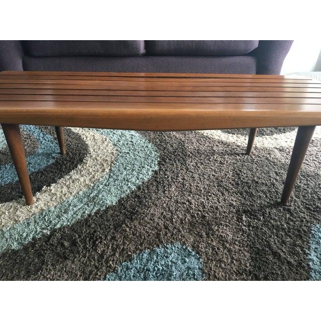 Mid-Century Modern Wood Slat Coffee Table Bench