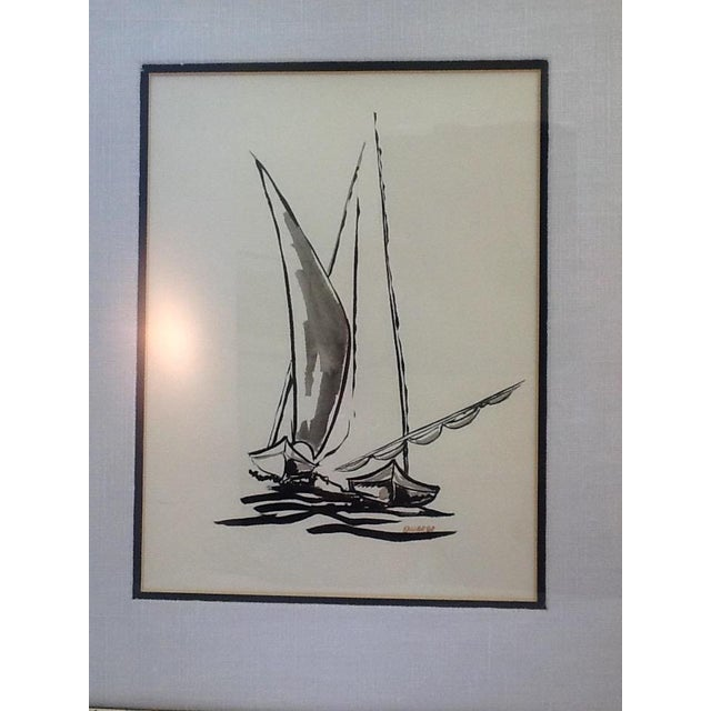 Mid Century Sailboat Painting. Black Ink Original Signed Sailboat Painting - Image 4 of 10