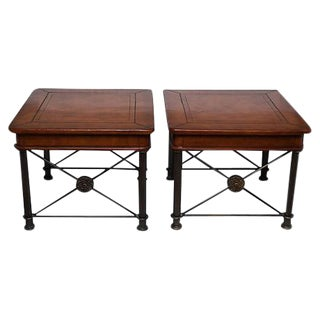 Leather-Top Side Tables - A Pair