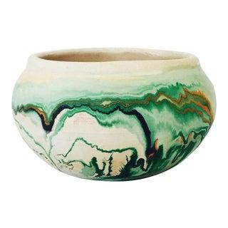 Vintage Green Swirls Nemadji Pottery Planter