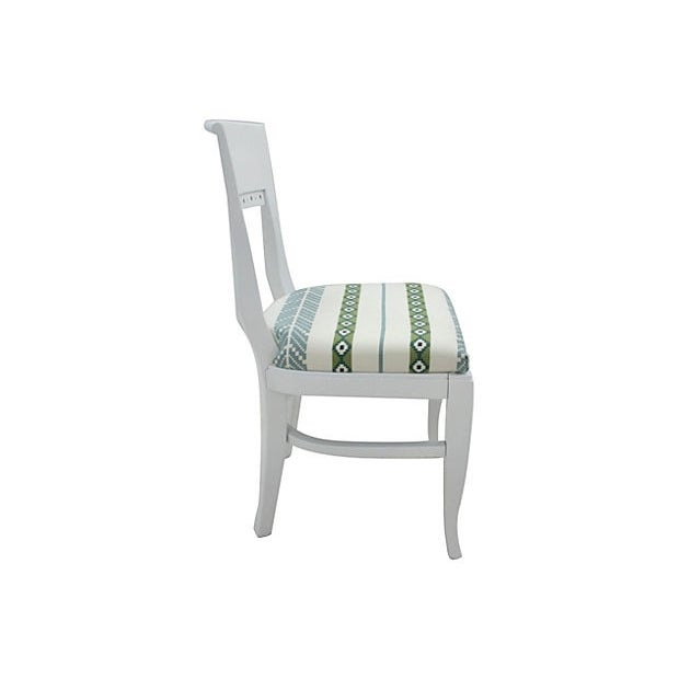White Morrocan Stripe Dining Chairs, S/6 - Image 3 of 6