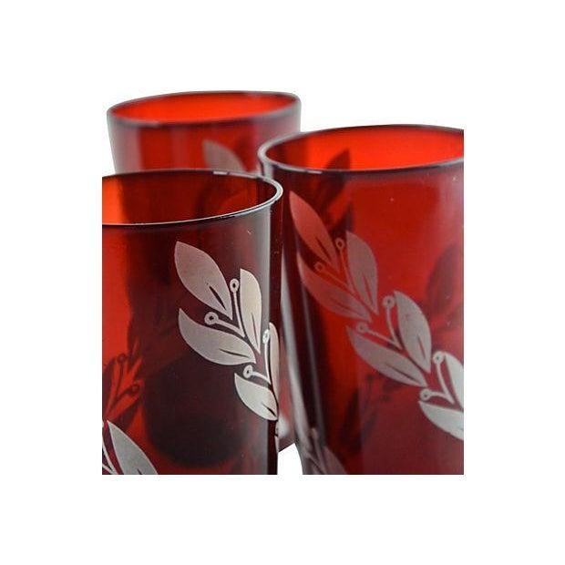 Mid-Century Crimson Tumblers - Set of 4 - Image 5 of 5