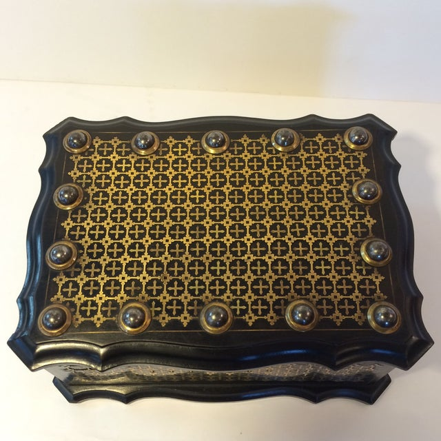 French Solid Ebony Wood Jewel Box - Image 6 of 7
