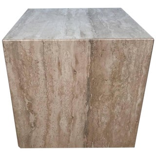Italian Travertine Cube Side Table Pedestal