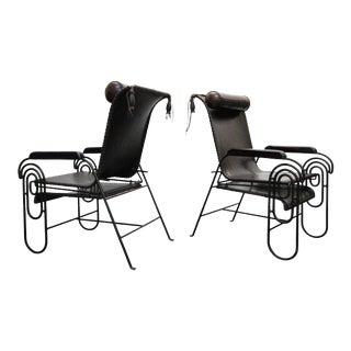 Pair of Art Deco Iron and Leather Rocking Lounge Chairs