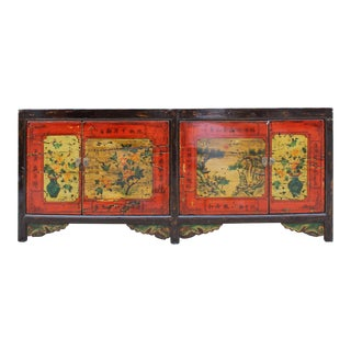 Chinese Distressed Brown Red Doors Long Sideboard Console Table Cabinet