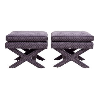 Tufted Upholstered X Benches - A Pair