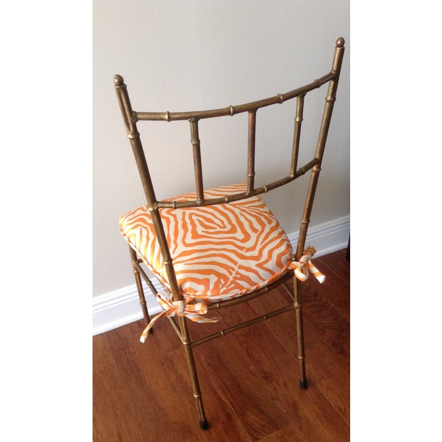 Italian Gilt Metal Faux Bamboo-Style Chair - Image 5 of 7
