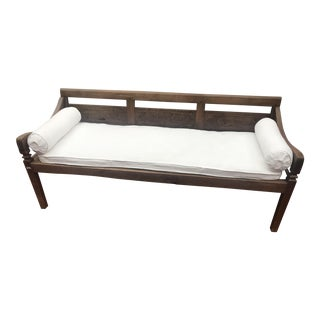 Antique Indo Teak with White Cushion Bench / Daybed