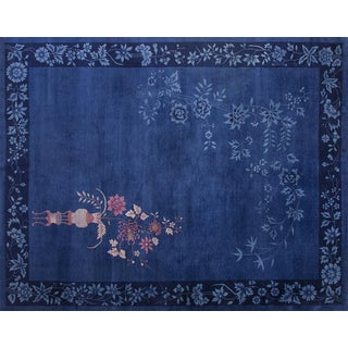 Chinese Art Deco Blue Rug - 9′ × 11′4″