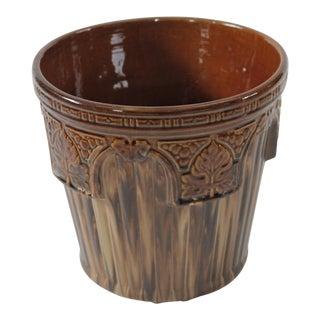 Brown Variegated Striped Majolica Flower Pot/Planter