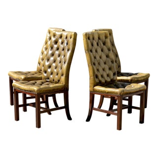 Button Tufted English Leather Dining Chairs - Set of 4