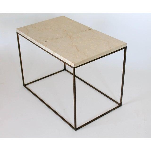 Rectangular Brass & Travertine Table - Image 6 of 11