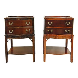 Chinese Chippendale Fretwork Nightstands - a Pair
