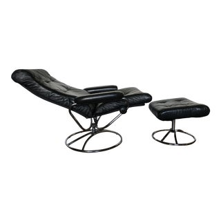 Ekornes Vintage Leather and Chrome Lounge Chair and Ottoman