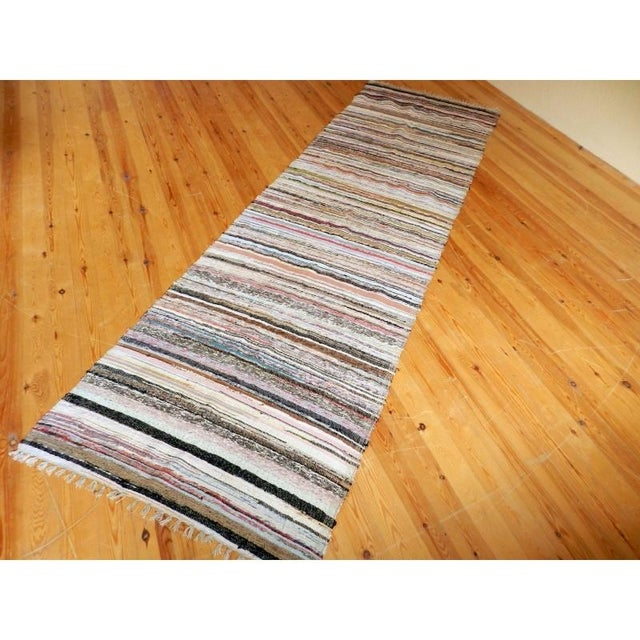 "Image of Striped Turkish Rag Rug Runner- 10'3"" X 3'2"""