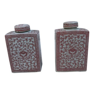 Chinese Coral & White Porcelain Ginger Jars - A Pair