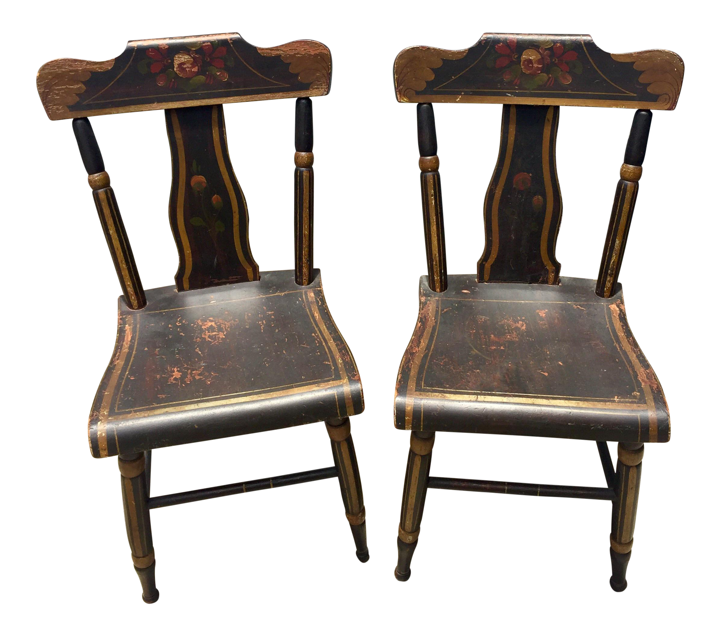 19th Century Hitchcock Style Painted Chairs   A Pair   Image 1 Of 9