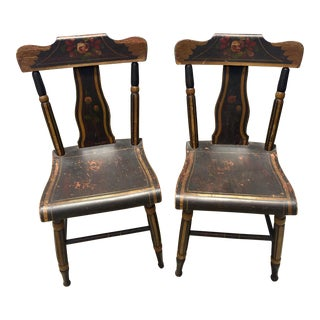 19th Century Hitchcock Style Painted Chairs - a Pair
