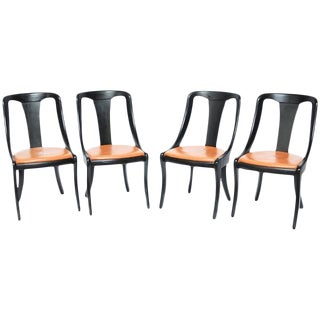 Set of Four Mid-Century Black Lacquer Dining Chairs