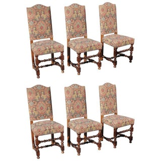 Louis XIII Style Walnut Dining Chairs - Set of 6