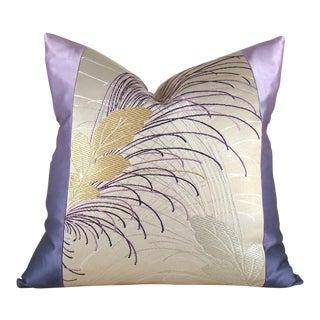 Vintage Leafy Japanese Silk Obi Pillow Cover
