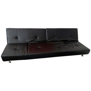 Edra Damier Italian Black Leather Sofa