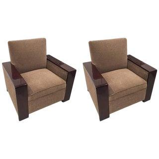 Streamline French Art Deco Club Chairs - A Pair