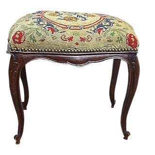 Antique French Floral Footstool