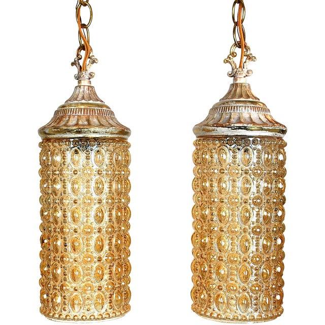 Image of Mid-Century Amber Pendant Lights - A Pair