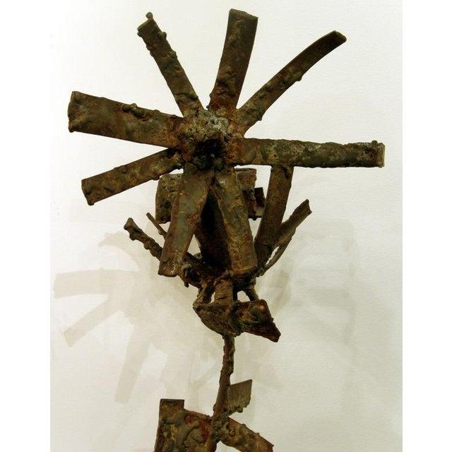 Brutalist Iron & Bronze Sunflower Sculpture Signed Faizman - Image 6 of 7