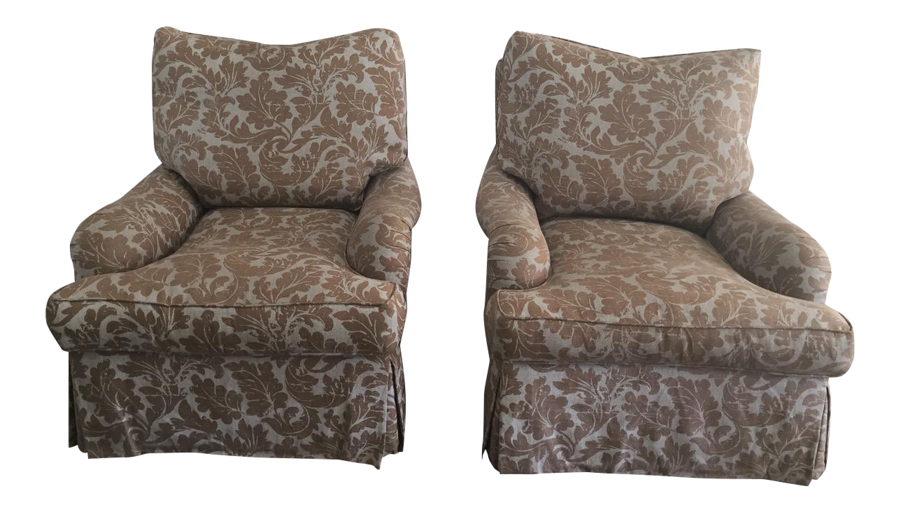 pair of english club chairs with swivel base by barclay butera