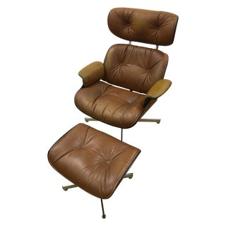 Brown Leather Plycraft Chair & Ottoman