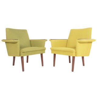 Danish Modern Teak Pawed Lounge Chairs - A Pair