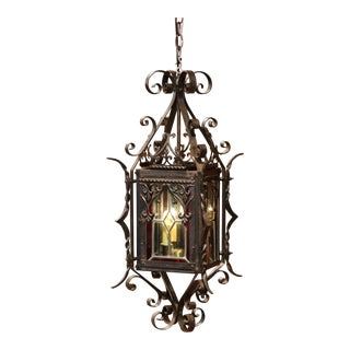19th Century French Napoleon III Black Iron Lantern with Stained Glass Panels