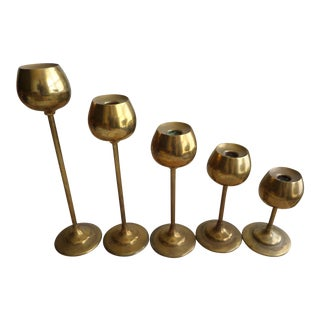Vintage Graduated Brass Candlestick Holders - Set of 5