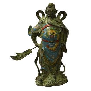 Chinese Metal Blue Enamel Cloisonne General Guan Statue