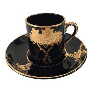 Vintage Black and Gold Demitasse Cup & Saucer