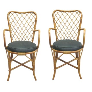 Two French Mid-Century Rattan Side/Desk Chairs Attributed to Jean Royère