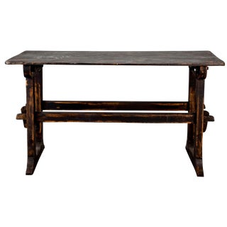 18th-C. Swedish Trestle Table in Black