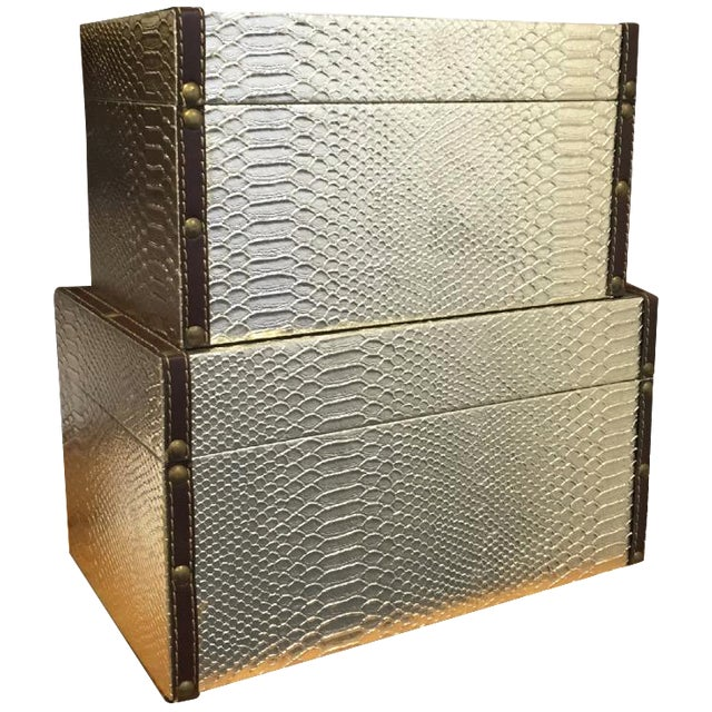Gold Faux-Snakeskin Nesting Boxes - A Pair - Image 1 of 6