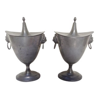 Antique Pewter Chestnut Urns - A Pair