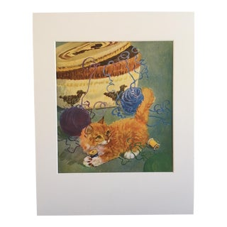 """Vintage Diana Thorne Cat Print """"Kitten in a Tangle"""""""