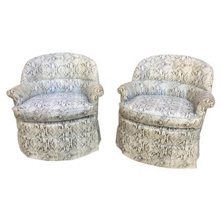 1940's Faux Snake-Skin Club Chairs - Pair